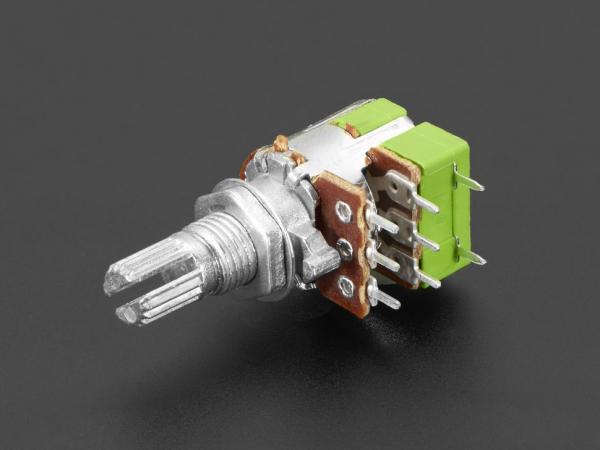 Potentiometru de 10K, liniar, dublu, cu montaj pe panou si comutator