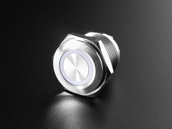 Buton metalic RGB cu mentinere cu protectie la intemperii - 22mm