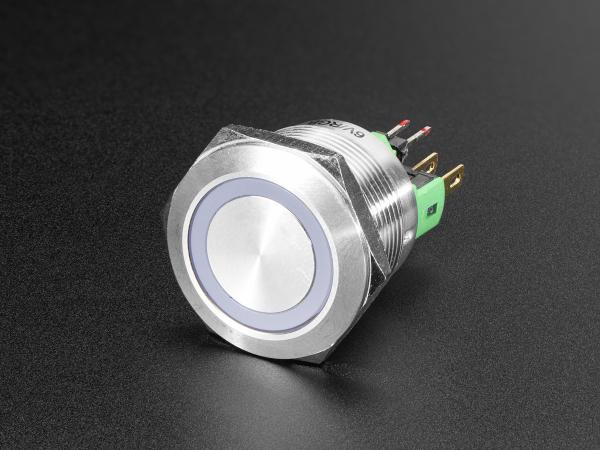 Buton RGB fara mentinere cu protectie la intemperii - 22mm 6V
